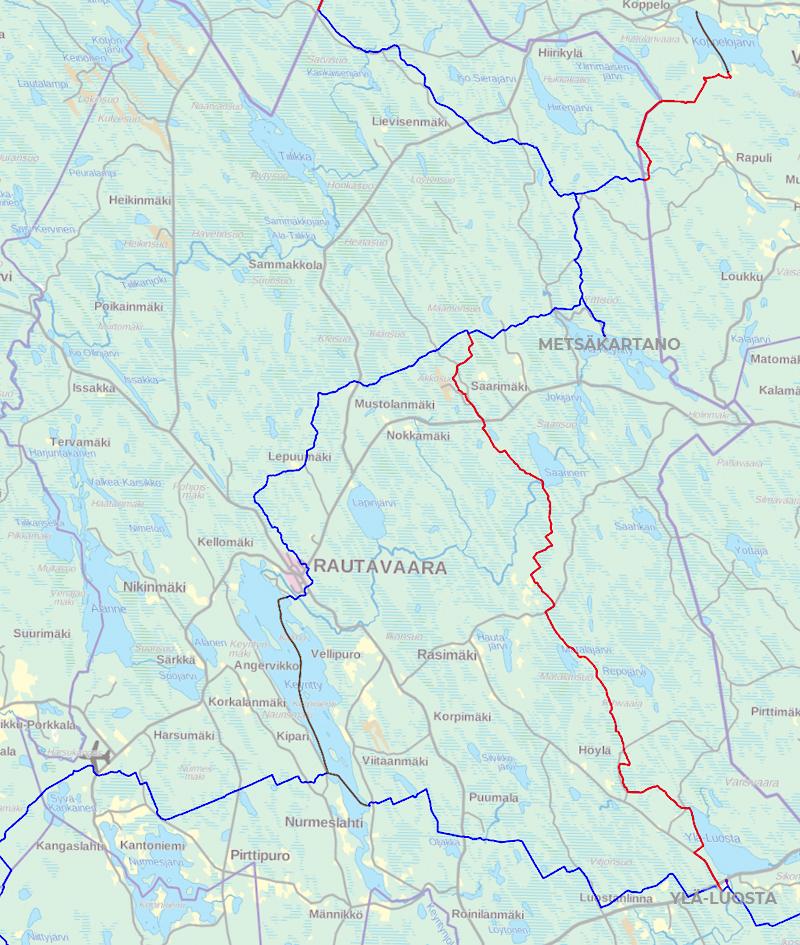Rautavaaran moottorikelkkareitit kartalla