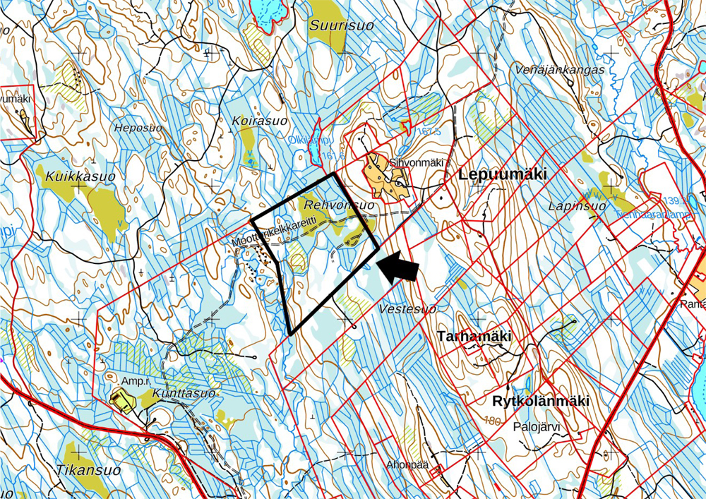Kartta Rautavaaran moottorikelkkailun vapaa-ajoalue