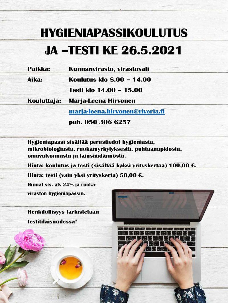 Hygieniapassikoulutus  ja -testi 26.5.