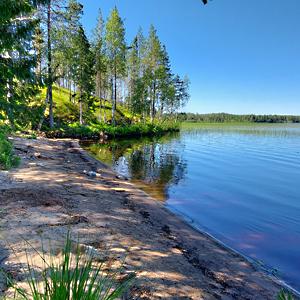 Järvi, hiekkaranta ja puita.